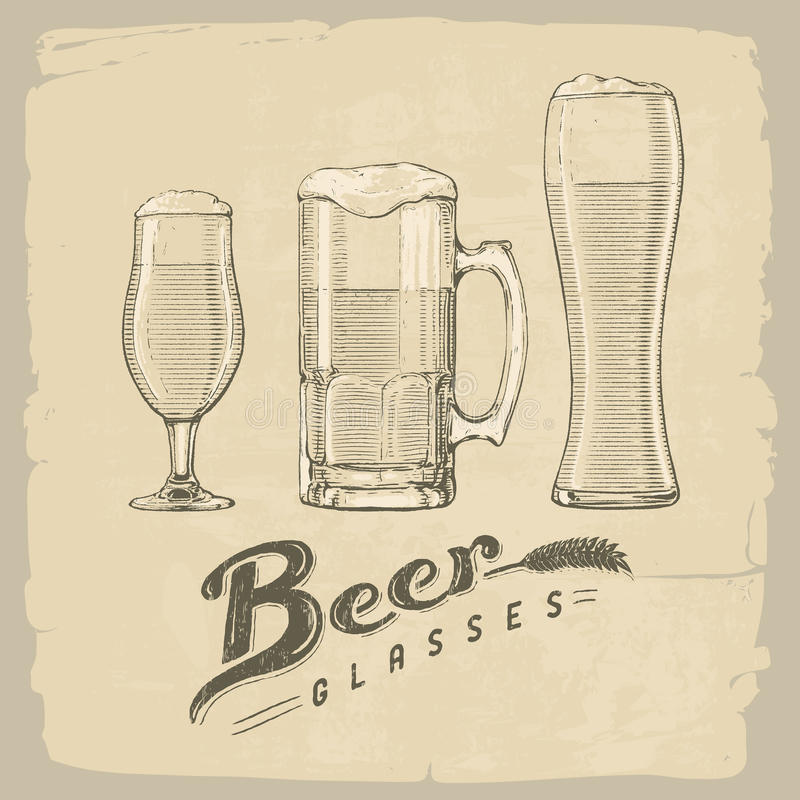 啤酒空的充分的玻璃一秒钟 向量例证