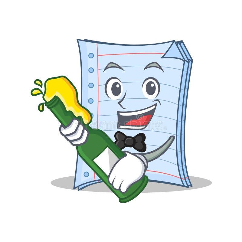 啤酒笔记本字符动画片设计 皇族释放例证