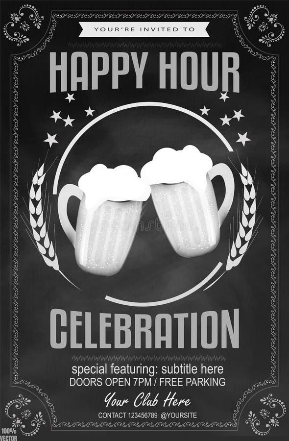 啤酒粉笔画在酒吧的一快乐时光 皇族释放例证