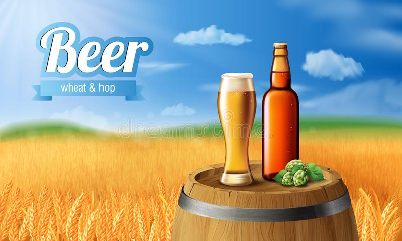 啤酒经典白色啤酒广告成套设计的海报模板 传染媒介玻璃杯子用在木桶的啤酒 库存例证
