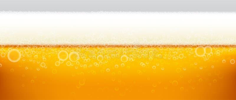 啤酒背景泡沫和泡影 库存例证