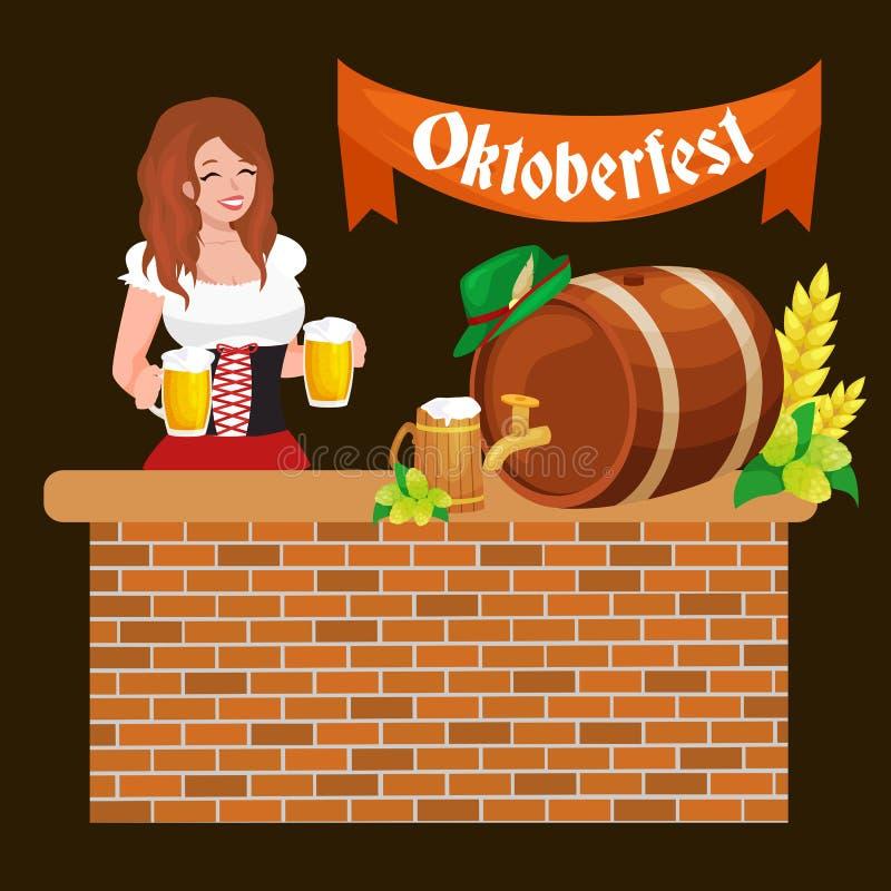 啤酒节日慕尼黑啤酒节庆祝减速火箭的样式标签、徽章和商标设置了与在背景传染媒介的杯子 皇族释放例证