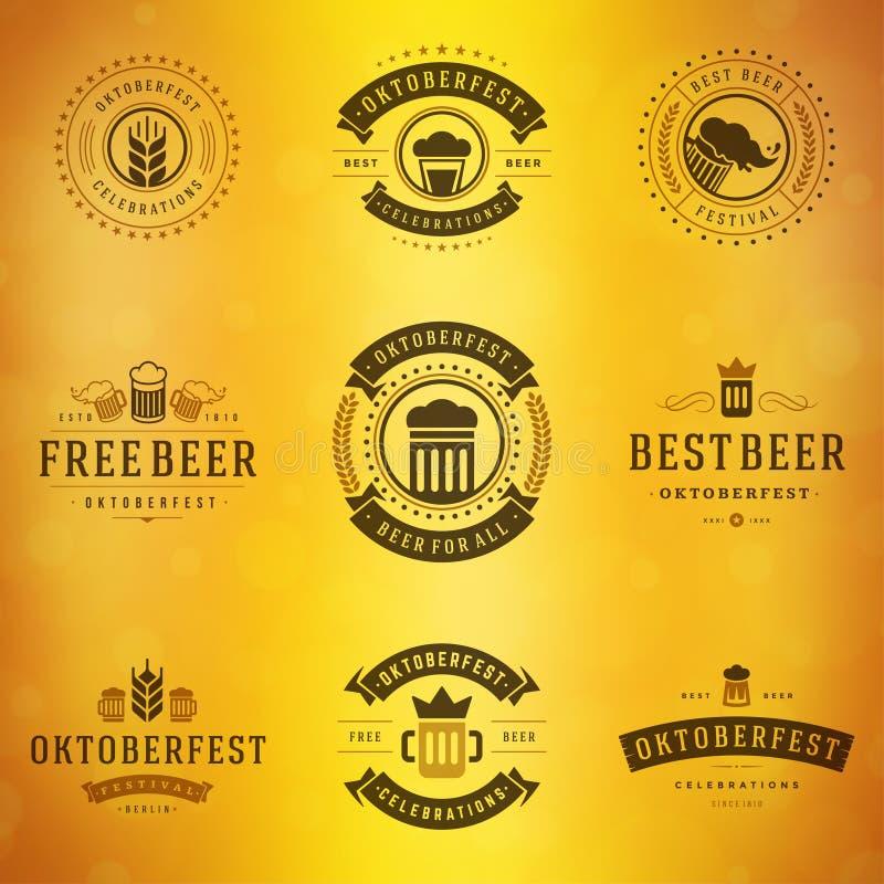 啤酒节日慕尼黑啤酒节标签、徽章和商标 皇族释放例证