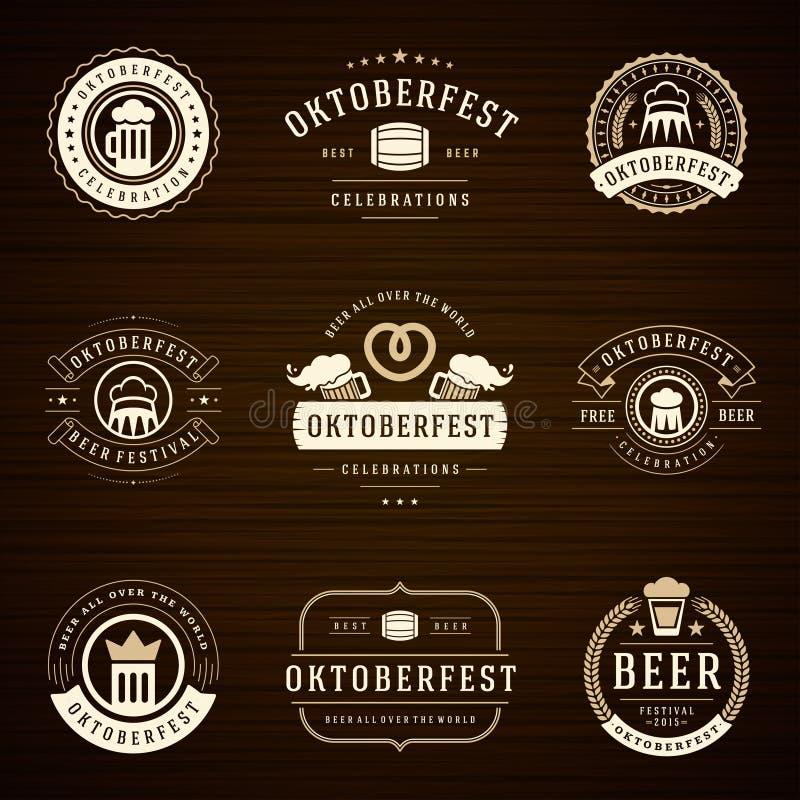 啤酒节日慕尼黑啤酒节标签、徽章和商标 向量例证