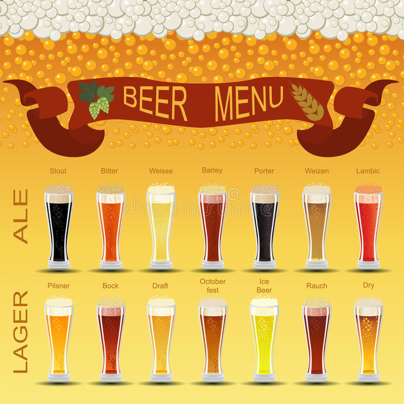 啤酒菜单集合,创造您自己的infographics 皇族释放例证