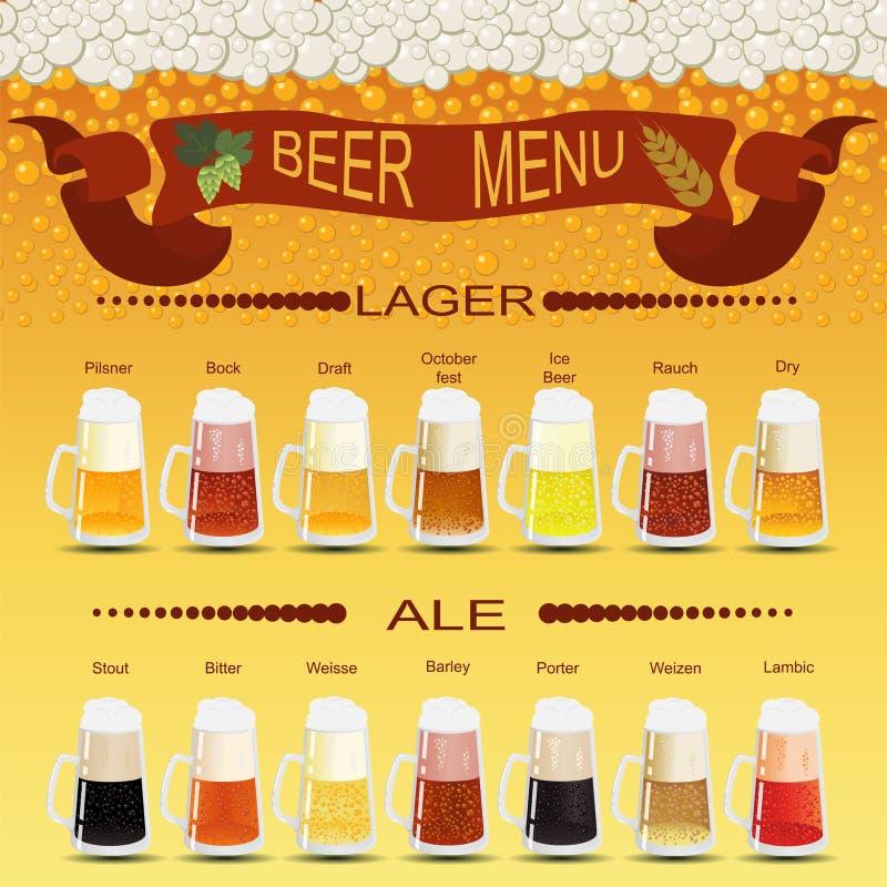 啤酒菜单集合,创造您自己的infographics 向量例证