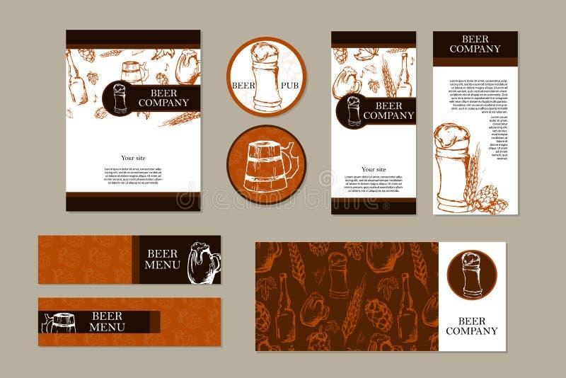 啤酒菜单 减速火箭的卡片或飞行物 餐馆题材 名片收集设计动态现代 也corel凹道例证向量 皇族释放例证