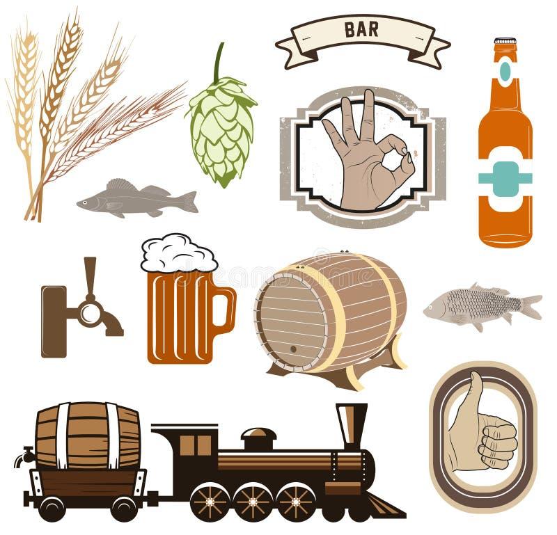 啤酒被隔绝的象、标志和设计元素传染媒介集合 库存例证