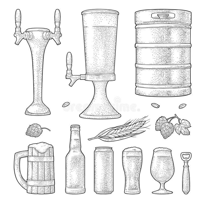 啤酒设置了与木杯子,轻拍,玻璃,蛇麻草,瓶 板刻 皇族释放例证