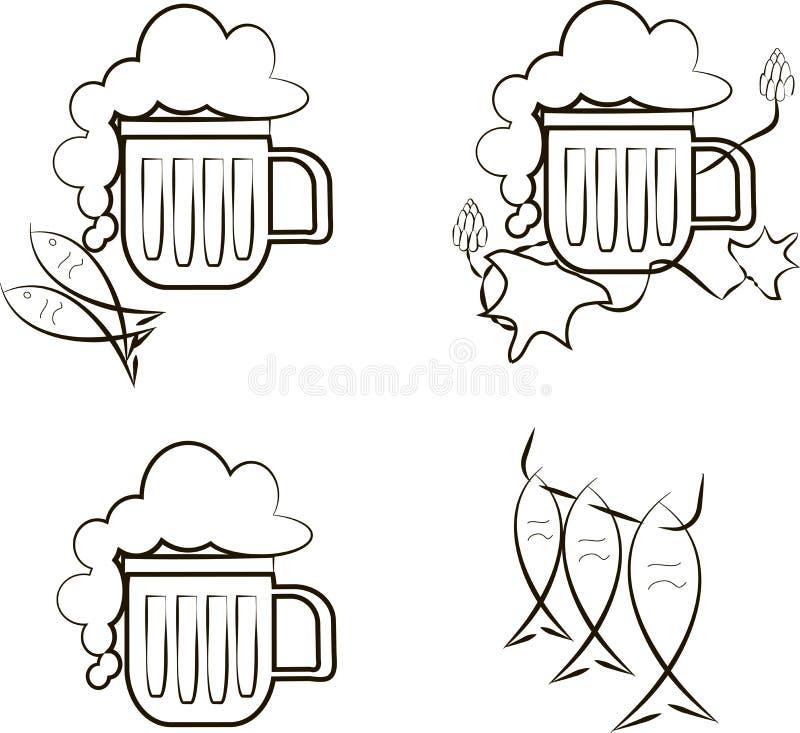 啤酒象 杯子与泡沫,鱼,蛇麻草分支的啤酒  库存例证