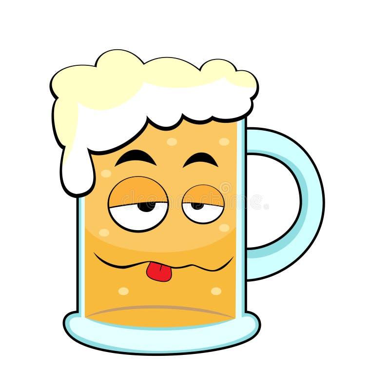 啤酒逗人喜爱的被喝的杯子 皇族释放例证