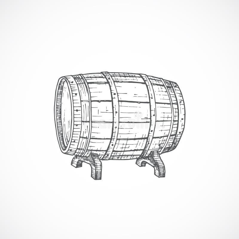 啤酒酒桶或桶抽象剪影 手拉的向量例证 皇族释放例证