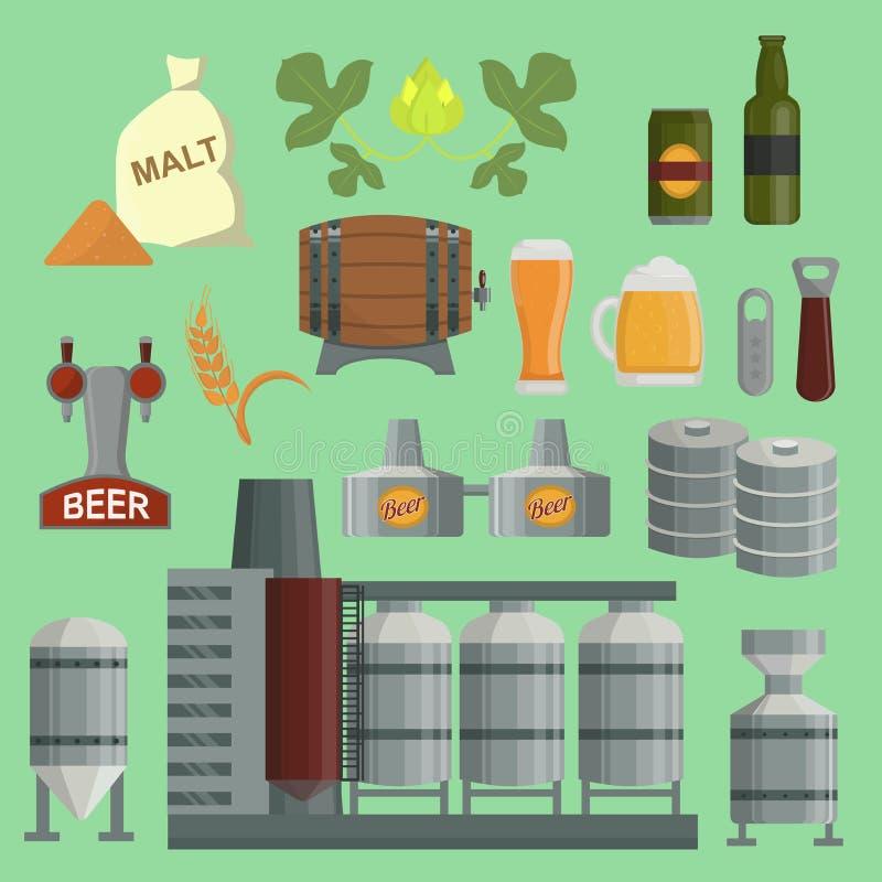 啤酒酿造处理工厂传染媒介平的样式啤酒生产小桶,蛇麻草,植物开启者酿造处理元素 捣碎 向量例证