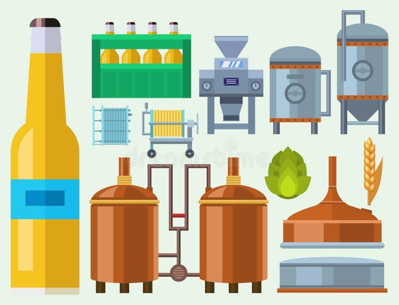 啤酒酿造处理酒精工厂生产设备捣碎的煮沸的冷却的发酵传染媒介例证 向量例证