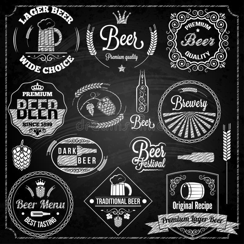 啤酒集合元素黑板 库存例证