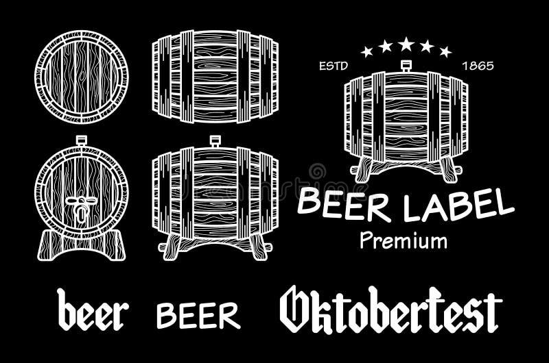 啤酒集合元素黑板octoberfest传染媒介 向量例证