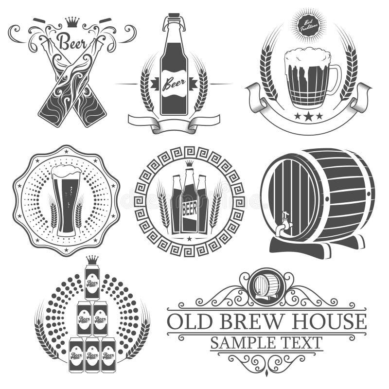啤酒集合贮藏啤酒葡萄酒标签 皇族释放例证