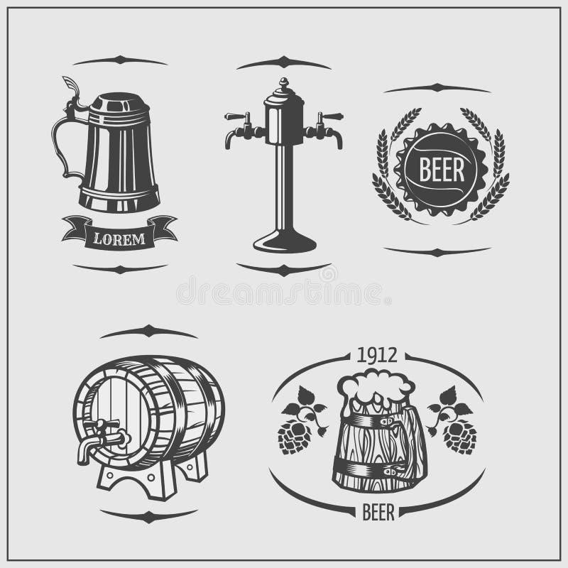 啤酒集 标签和商标 慕尼黑啤酒节的被隔绝的元素 库存例证