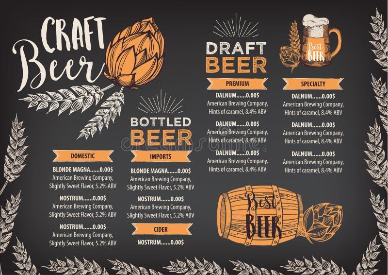 啤酒餐馆咖啡馆菜单,模板设计 皇族释放例证