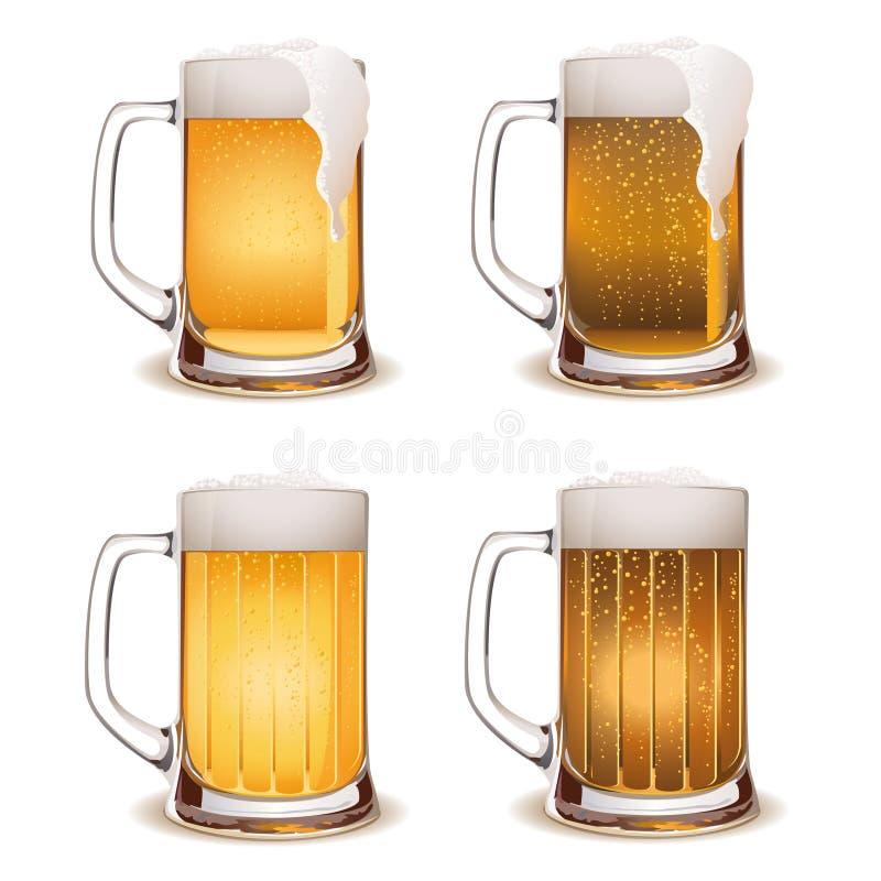 啤酒黑暗的轻的杯子向量 免版税库存照片