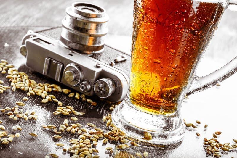 啤酒,麦芽,蛇麻草 库存照片