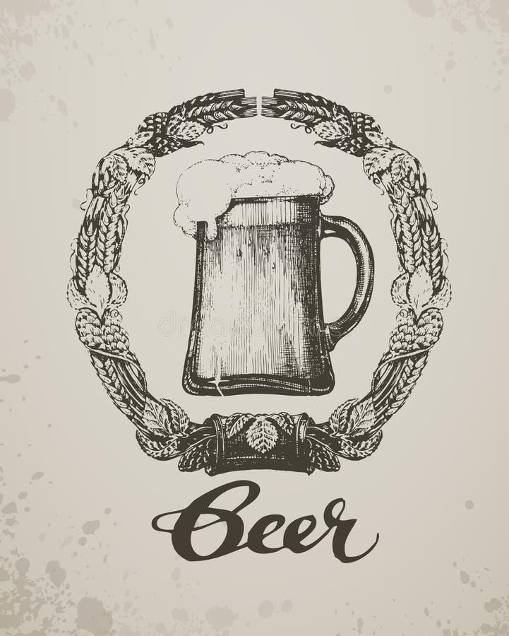 啤酒 剪影oktoberfest节日 手拉 向量例证
