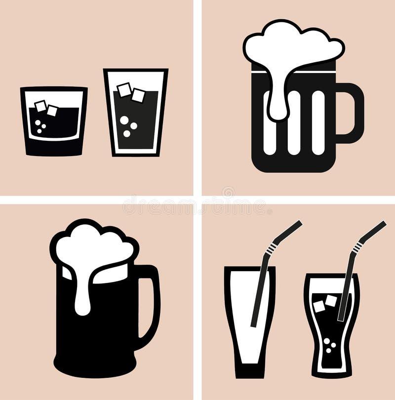 啤酒 鸡尾酒 酒客和汽水 被设置的图标 库存例证