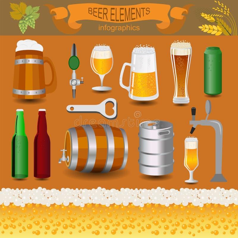 啤酒infographics,设置了元素,创造的您自己的infograph 向量例证