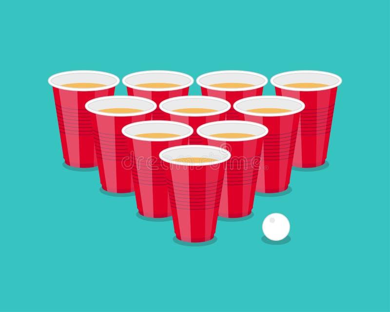 啤酒Pong作为红色杯子和乒乓球的比赛飞行物 库存例证