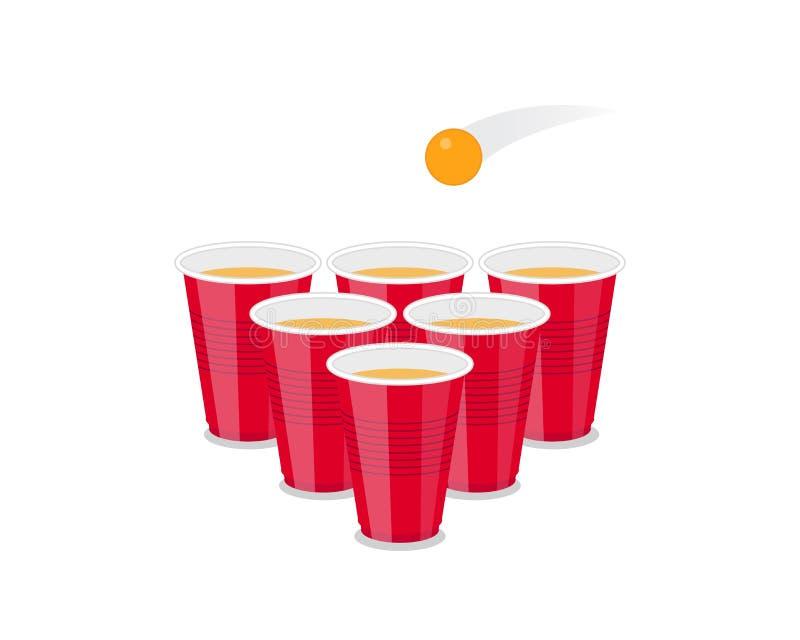 啤酒Pong作为红色杯子和乒乓球的比赛飞行物 皇族释放例证