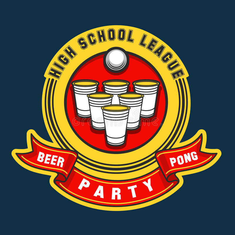 啤酒pong党商标 皇族释放例证
