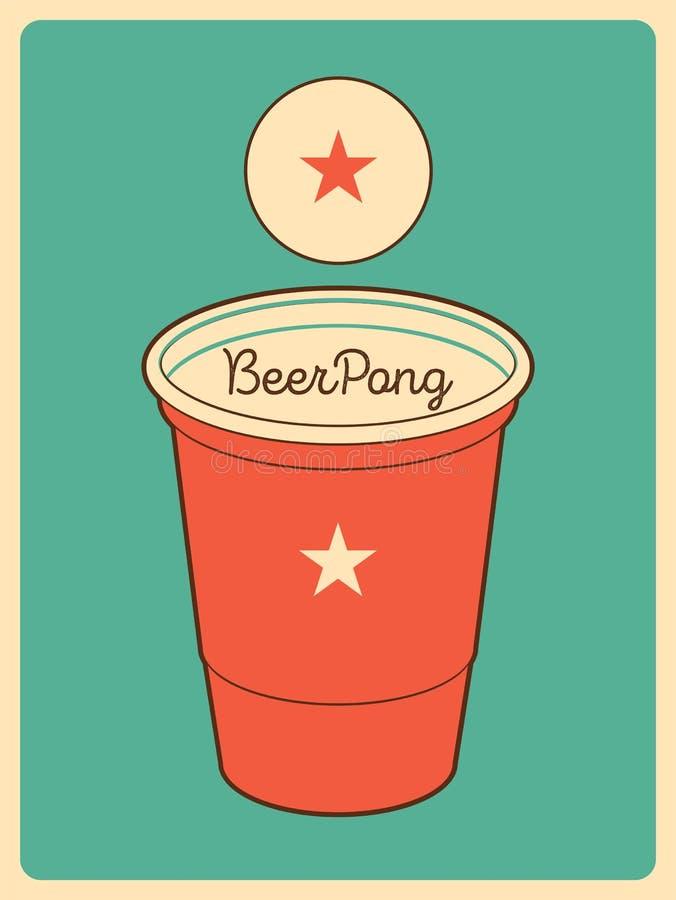啤酒Pong印刷葡萄酒样式海报 例证减速火箭的向量 向量例证