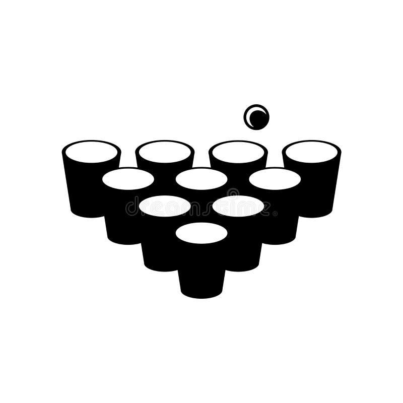 啤酒pong在白色背景隔绝的象传染媒介,啤酒pong标志,啤酒标志 库存例证