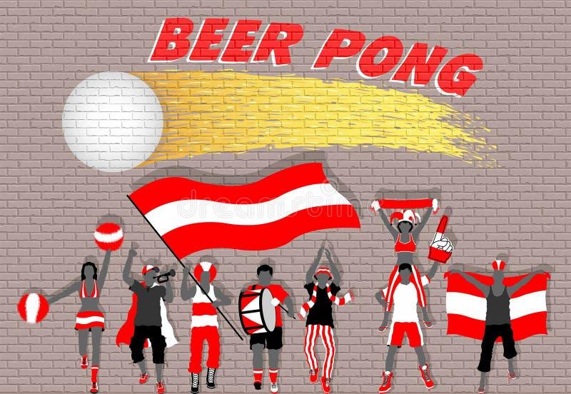 啤酒pong在砖墙街道画前面的党支持者 向量例证