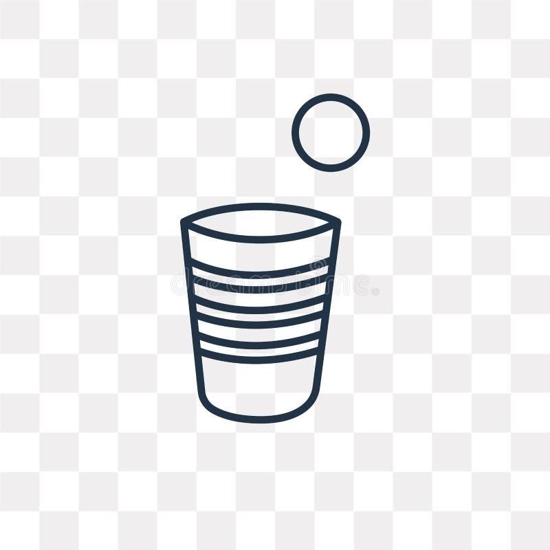 啤酒pong导航在透明背景隔绝的象,线性 库存例证