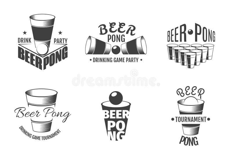 啤酒pong标签 党证章传染媒介 库存例证