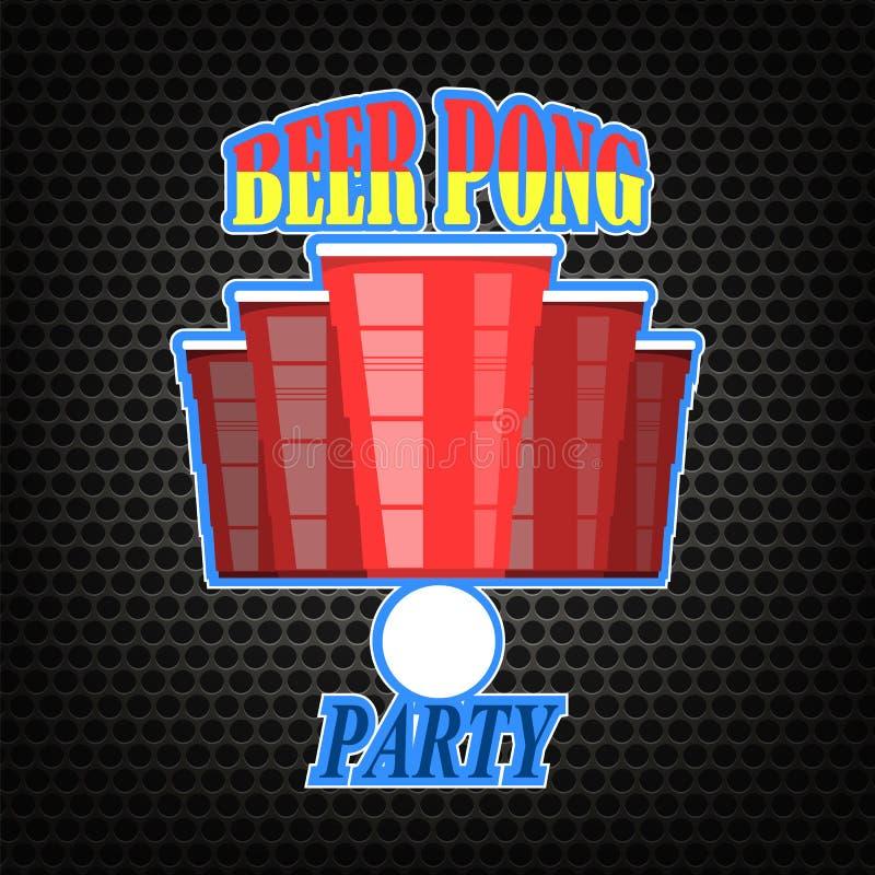 啤酒pong比赛 红色塑料杯和白色网球在穿孔的背景 向量例证