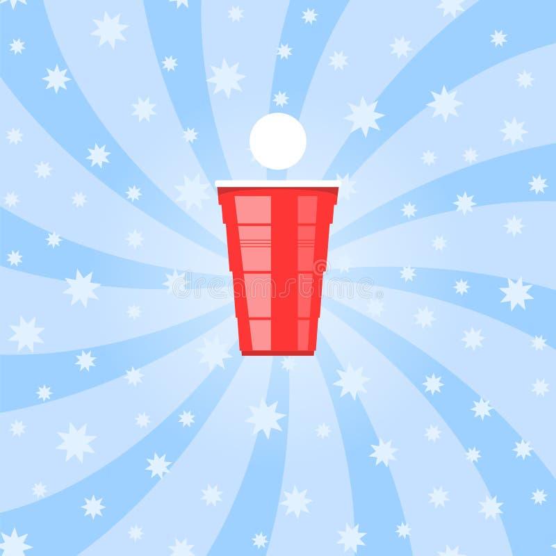 啤酒pong比赛 红色塑料杯和白色网球 党的趣味游戏 传统饮用的时间 向量例证