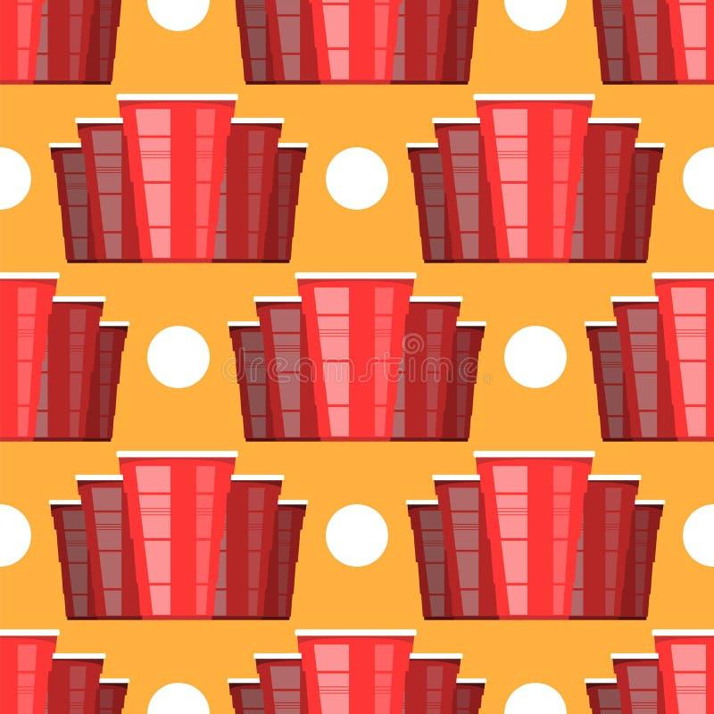 啤酒pong比赛 红色塑料杯和白色网球 党的趣味游戏 传统饮用的时间 库存例证