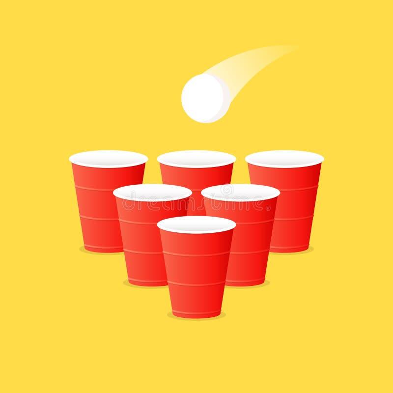 啤酒pong集合 向量例证