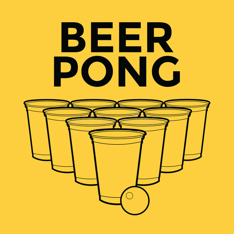 啤酒Pong饮用的比赛 向量例证