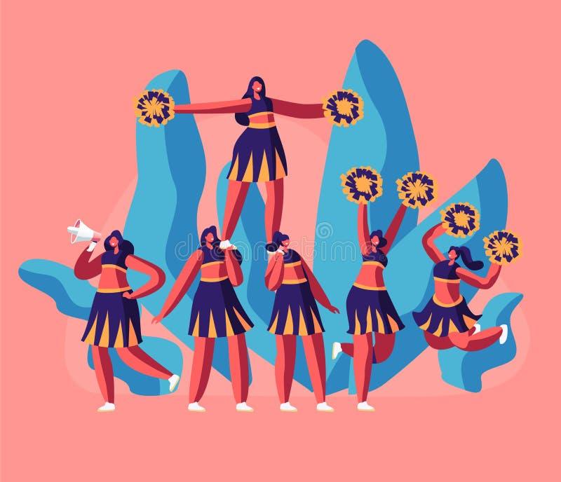 啦啦队员在橄榄球场事件或体育竞赛的一致的制造的金字塔合作 学生女孩字符执行 皇族释放例证