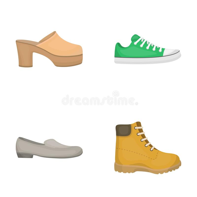 啪嗒啪嗒的响声、障碍物在一个高平台和脚跟,绿色运动鞋有鞋带的,女性灰色芭蕾舱内甲板,红色鞋子在 皇族释放例证