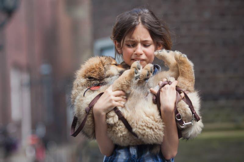 啼声女孩她的创伤小狗年轻人 免版税库存照片