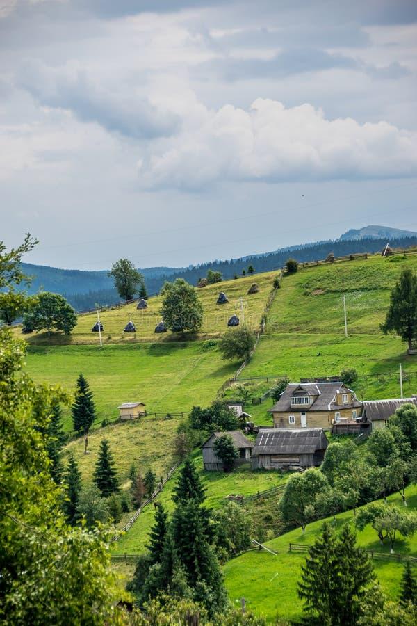 喀尔巴阡山脉的小山的农业社在乌克兰 免版税库存图片