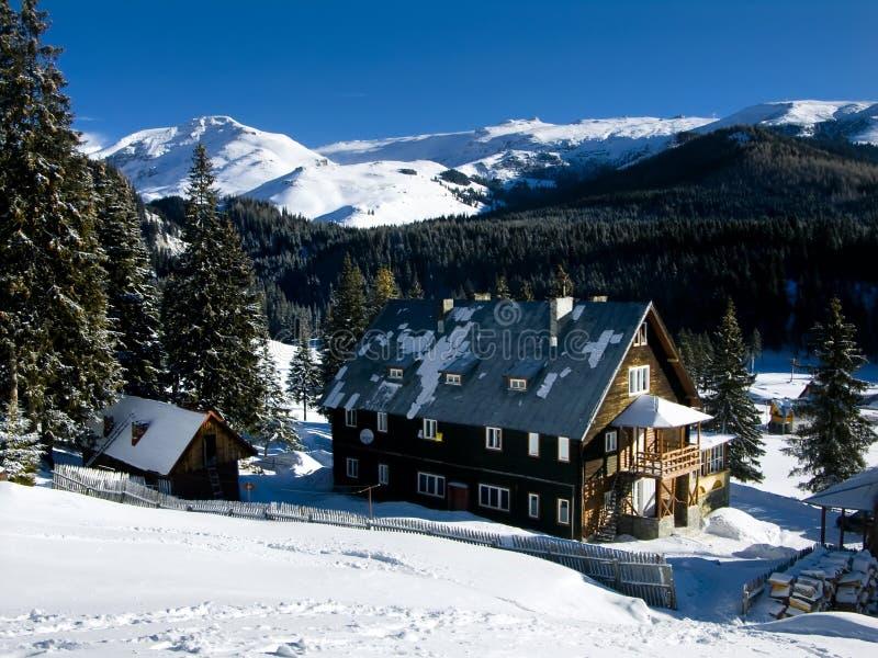 喀尔巴阡山脉的瑞士山中的牧人小屋padina 库存照片