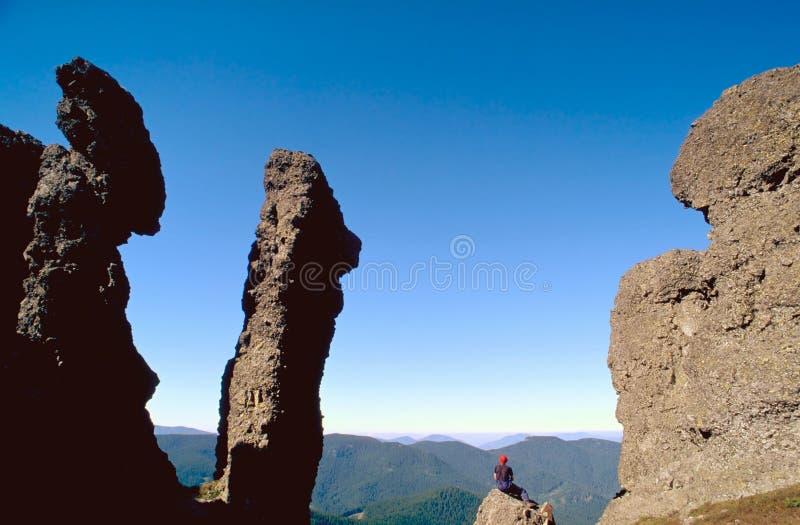 喀尔巴阡山脉的远足者 库存照片