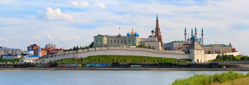喀山克里姆林宫全景,鞑靼斯坦共和国 免版税图库摄影
