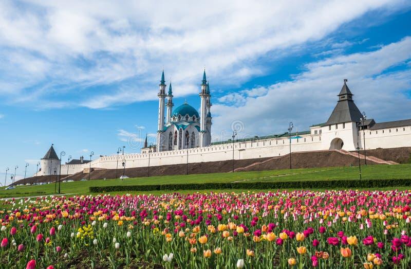 喀山克里姆林宫和Kul谢里夫清真寺,鞑靼斯坦共和国,俄罗斯 免版税库存照片
