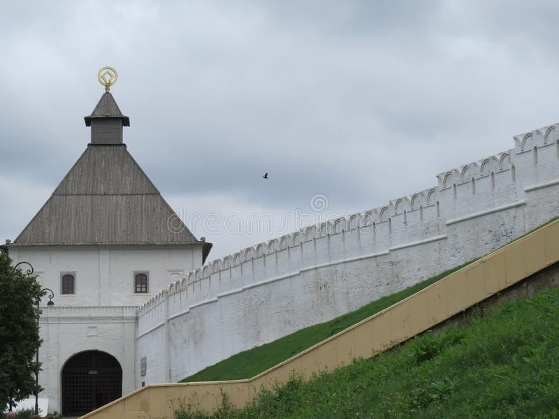 喀山克里姆林宫喀山,俄罗斯的看法 免版税图库摄影